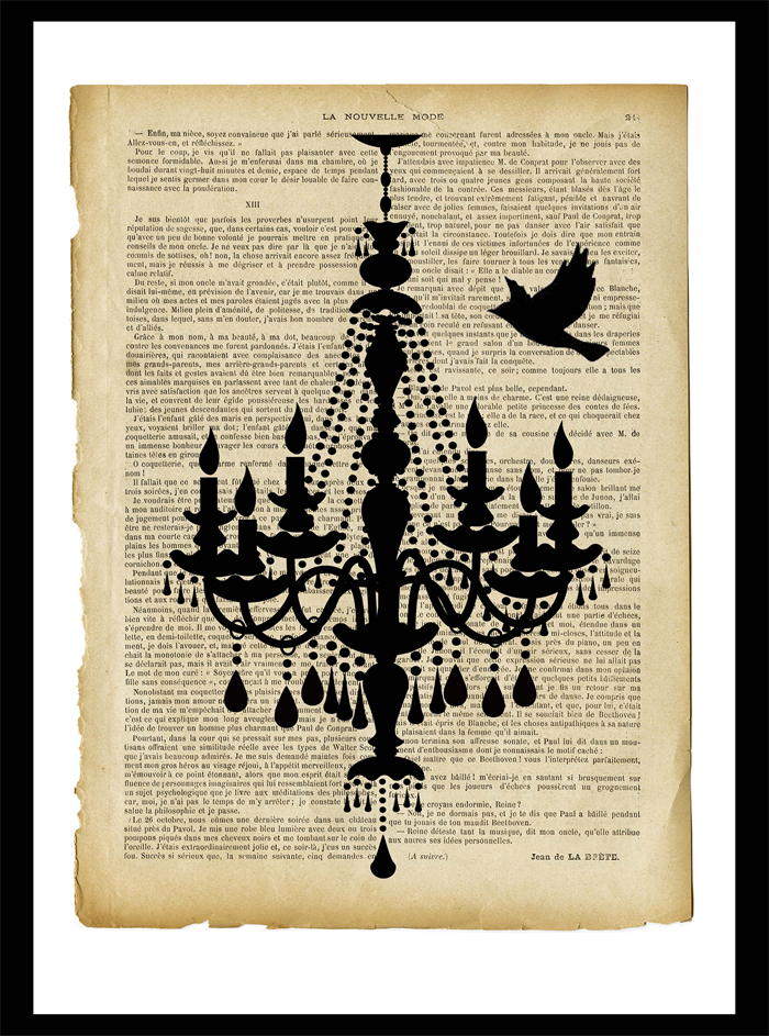 Vintage style chandelier a4 wall art print jack of all - Vintage inspired wall art ...