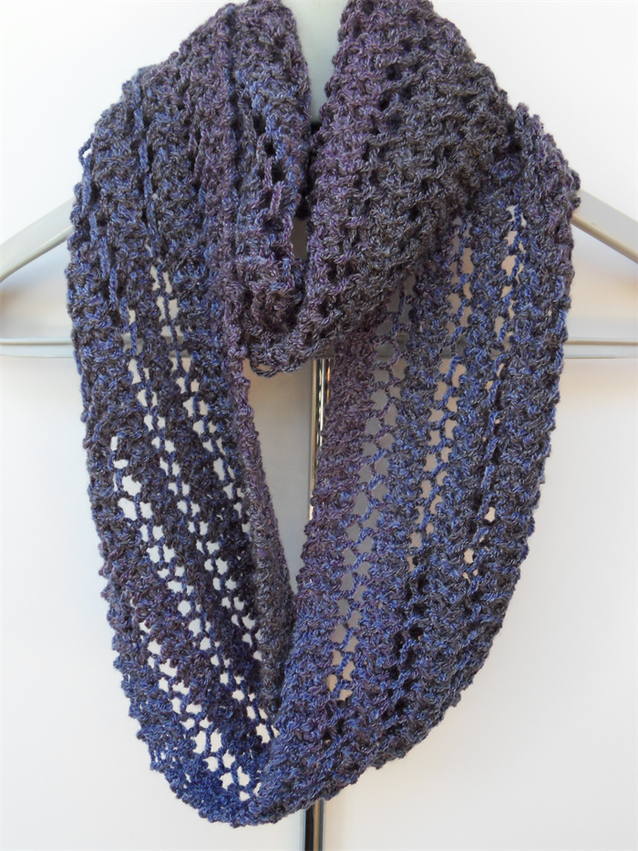 Shades Of Purple Infinity Scarf Knit Hand Knitted Lace Scarf