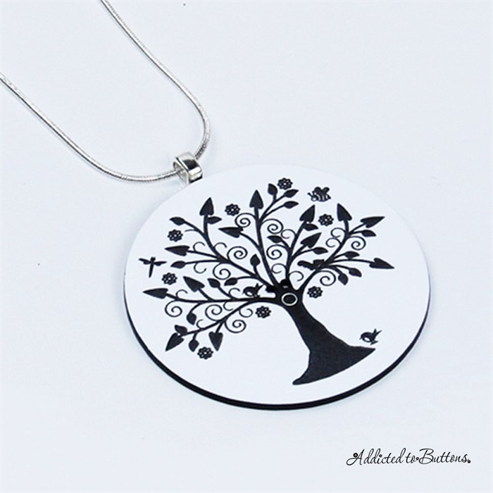 Tree of life pendant black white laser etched button tree of life pendant black white laser etched button silver plated chain aloadofball Choice Image