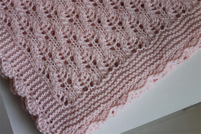 Hand Knitted Baby Pink Heirloom Baby Blanket /Shawl Nursery Decor Ready to Sh...