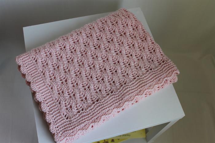 Hand Knitted Baby Pink Heirloom Baby Blanket Shawl Nursery Decor