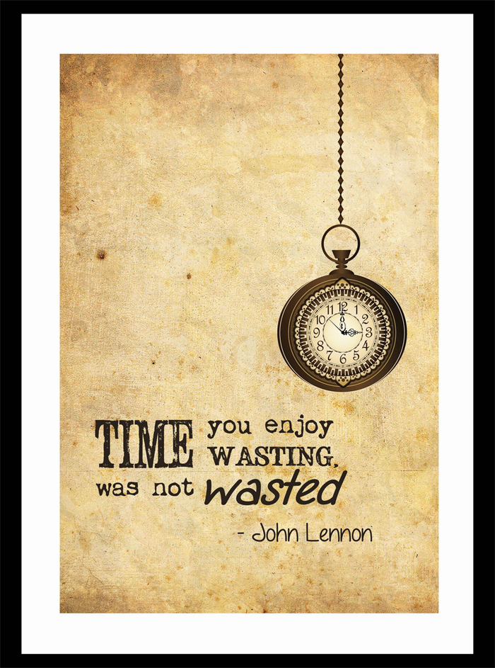 Vintage style wall art print john lennon quote time