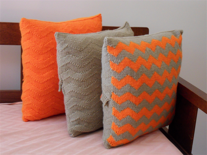 Orange Fawn Zigzag Cushion Coverknithand Knitted Cushion Cover