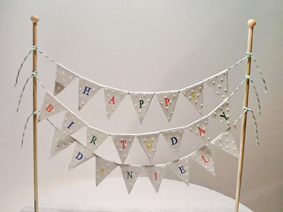Tremendous Cake Bunting Cake Topper Triple String Of Flags Happy Birthday Birthday Cards Printable Opercafe Filternl