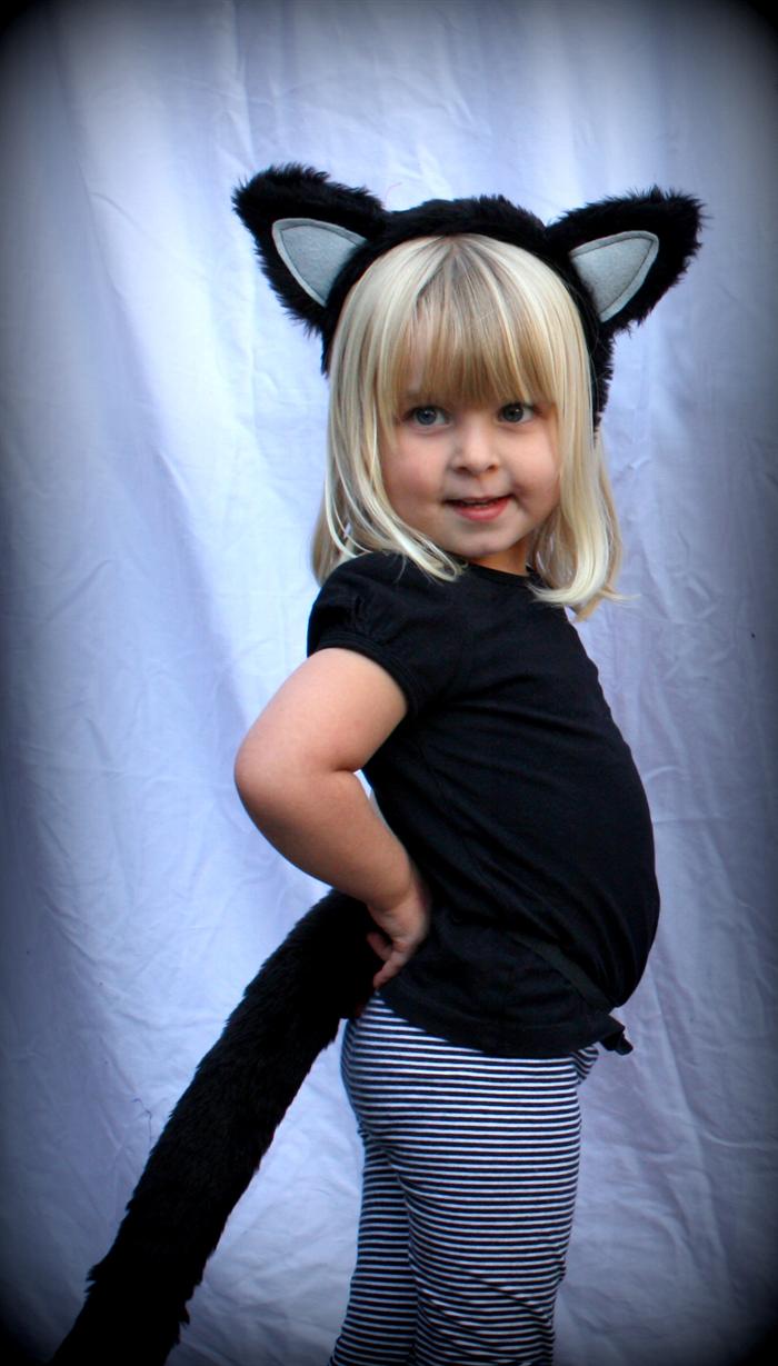 black cat set with headband ears & tail -- costume halloween girls