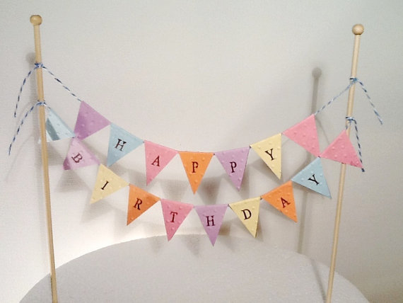 Superb Cake Bunting Cake Topper Double String Of Flags Pastel Happy Personalised Birthday Cards Paralily Jamesorg
