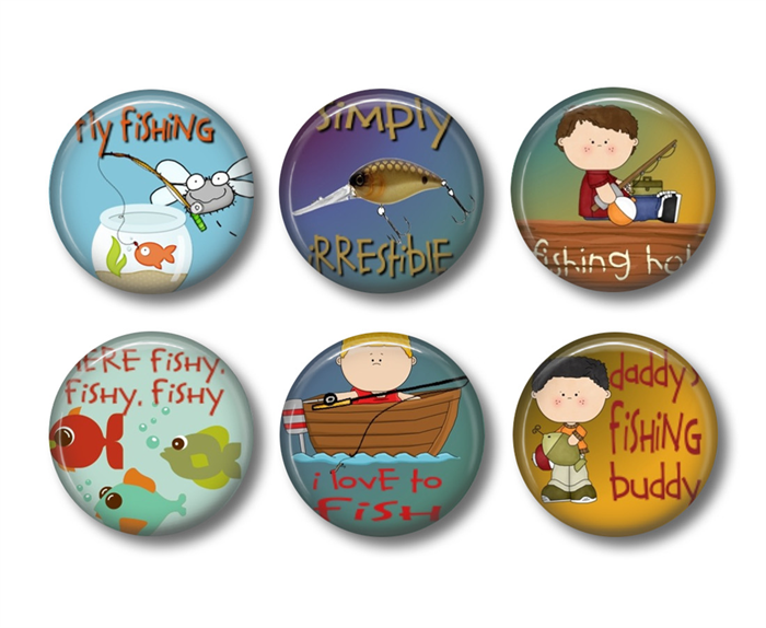 Magnets fishing set of 6 fridge magnets badge bliss for Fishing magnets for sale