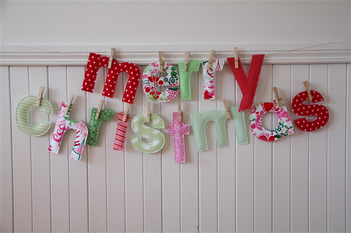 custom christmas banner fabric merry christmas letters with pegs string in bag