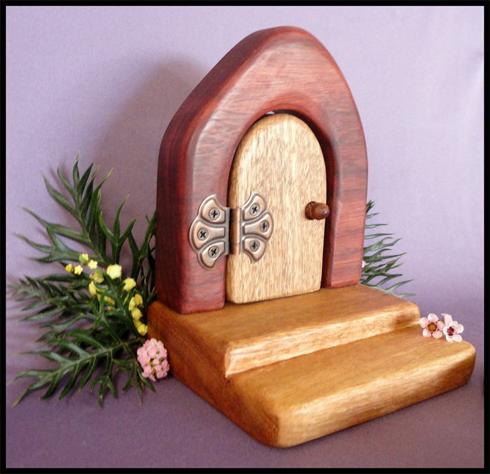 Wooden fairy door with table and chair set eco friendly for Wooden fairy doors