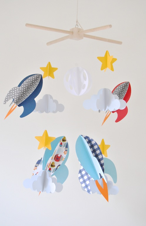 Rockets clouds and stars space theme 3d paper baby mobile for How to make a paper cloud