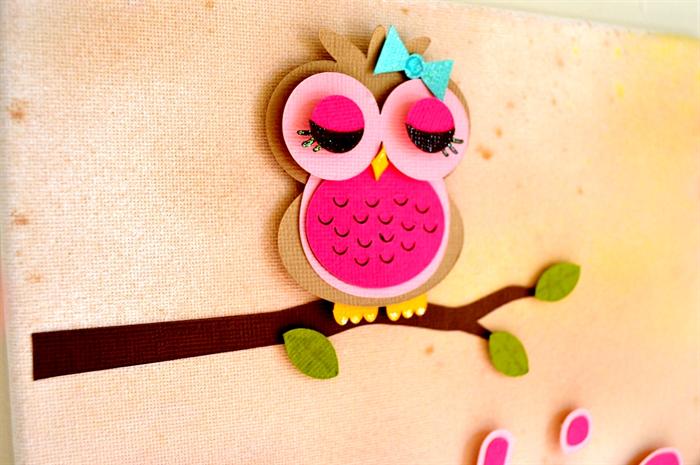 Personalised 3D Paper Cut Art - Owl Theme - 20 x 25 cm canvas ...
