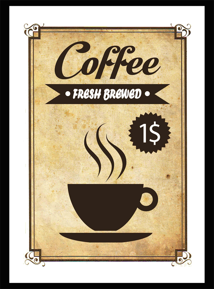 Vintage Style Coffee Sign - A4 Wall Art Print | Jack of all Designs ...