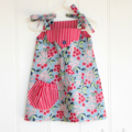 "Size 1 ~ ""Annie Picnic Dress"" Party Dress in red and blue cornflower"