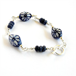 Blue and White Ceramic, Sodalite and Silver Bracelet