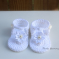 Crochet Baby Summer Sandals/Booties in White