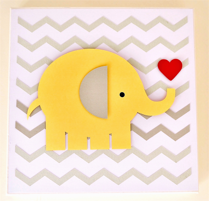Baby Girl Chevron Zigzag Elephant 3D Paper Wall Art for nursery ...