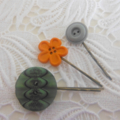 Bottle Green, Orange Flower,Teal, Button, Bobby Pin,Pin, Hair Clip, Clips,