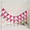 Cake Bunting/Cake Topper Double String of Flags Pink Glitter/Wedding/Engagement/