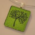 Curly Jo Design Artisan Glass Pendant LIME GREEN Tree of Life Bright Bold Wild