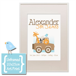"SAFARI ANIMALS personalised 8x10"" ART PRINT baby birth announcement"