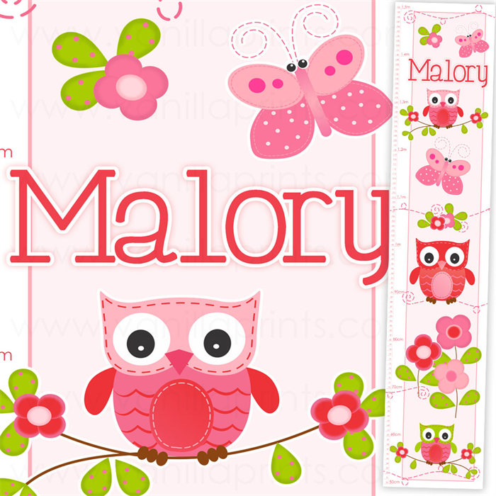 Sweet Cherry Owl Personalised Height Growth Chart Baby Girl Toddler