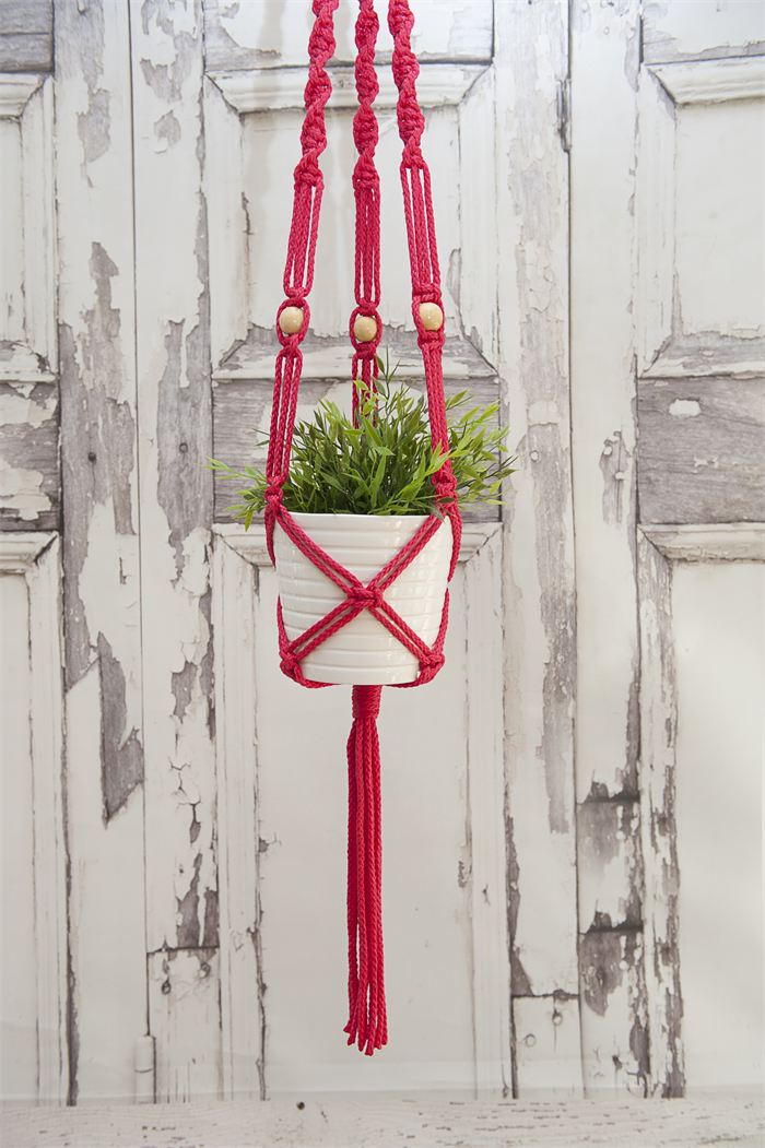 Rasberry Twisted Top Macrame Pot Plant Hanger The