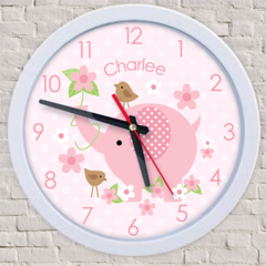 PINK ELEPHANTS personalised DELUXE CUSTOM CLOCK baby girl toddler gift