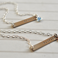 Bar Necklace, Fearless, Hand Stamped Sterling Silver, Inspiration Necklace