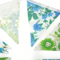 Vintage Bunting - RETRO Blue Green Floral Flags. Eco Friendly, Party Decor