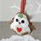 Christmas robin bird, red heart on beige, decoration