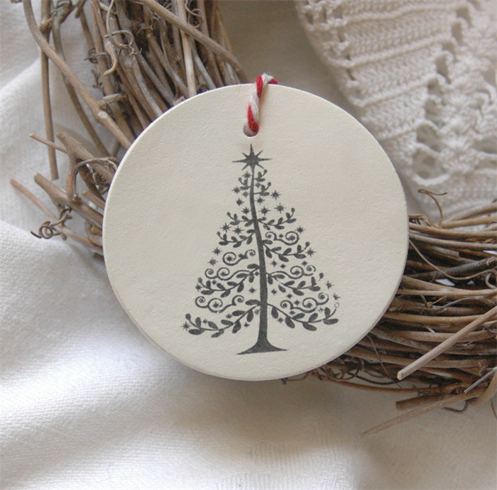 O Christmas Tree Two Clay Tag Ornaments Or Gift Tags