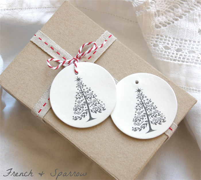 ... O Christmas Tree - Two Clay Tag Christmas Ornaments or Gift Tags