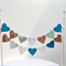 Cake Bunting/Cake Topper Double String of Hearts  Aqua, Mint, Cream/Gold Glitter