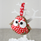 Christmas robin bird, red, white polka dots, decoration