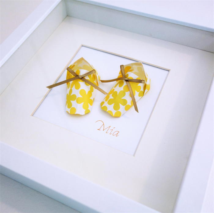 Framed Origami Baby Booties Threefold Madeit