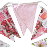 Holly Hobbie Vintage & Floral Pink Flag Bunting * Girls Pennant Decoration