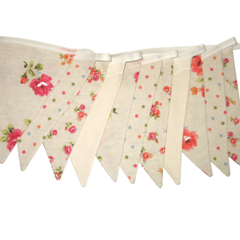 Floral & Spot Fabric Flag Bunting with Lace