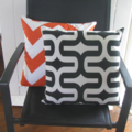Tangelo Orange Chevron Zig Zag Cushion Cover - Pattern 2 - Retro Cushions