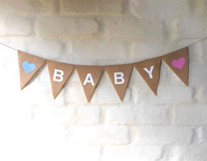 baby hessian nursery baby children celebration baby shower party banner bunting collecting. Black Bedroom Furniture Sets. Home Design Ideas