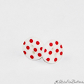 White with Red Spots  Button - Stud Earrings