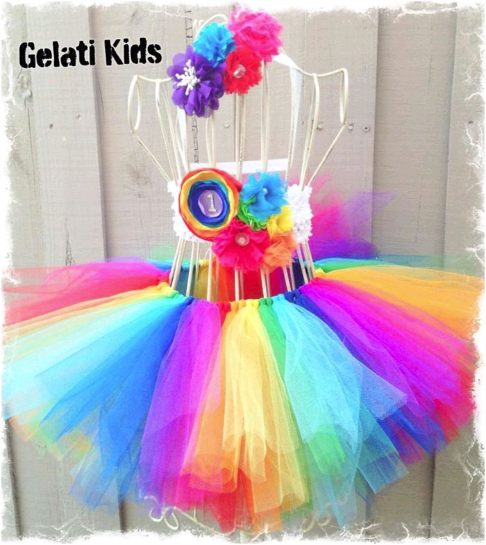 Rainbow Girls 1st Birthday Tutu Set Cake Smash Photo Prop