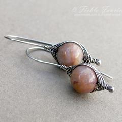 Herringbone Sterling Silver Peach Mookaite Earrings