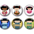 Fridge magnets - Kokeisha Dolls - set of 6 fridge magnets