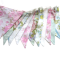 Vintage Style Spring Floral Pink & Blue with Lace Flag Bunting. Wedding, Party