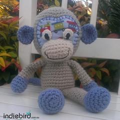 Small Monkey Soft Kids Toy Boy Blue - Amigurumi