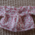 Size 0 - 6 months: Baby jacket/cardigan in Pink & White