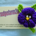Knitted Pansy Brooch