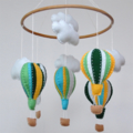 Blue and green Hot Air Balloons - Baby Mobile