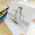 Little Penguin greeting card Australian wildlife art pencil drawing beach family