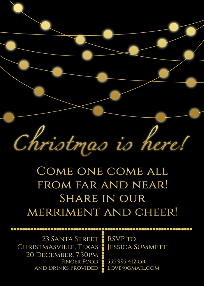 Christmas Lights Party Invitation Black Gold